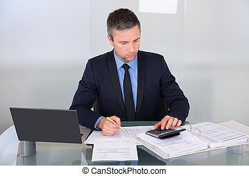 Businessman Working At Desk - Portrait Of A Businessman...