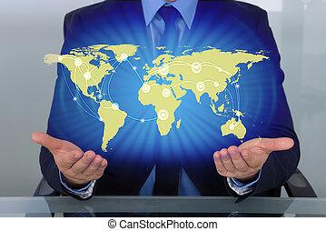 Businessman With World Map - Businessman With Digital World...