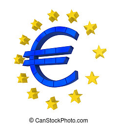 European Union Symbol isolated on white background. 3D...
