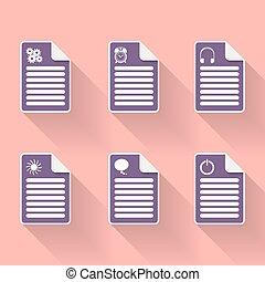 Set of six document icon with symbols