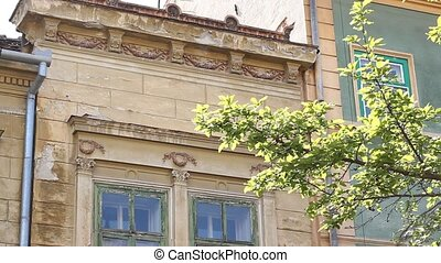 Old Baroque Balcony - Tilt shot of beautiful old balcony,...