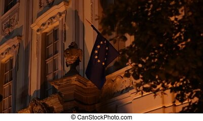 Night European Union Flag - The EU Flag waving on a baroque...