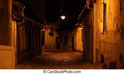 Night Old Houses Crossroads