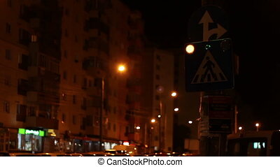 Night Blinking Crosswalk Sign - A crosswalk attention sign...