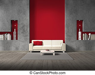 fictitious living room with maroon wall - modern fictitious...