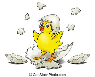 Chicken Hatching - Cartoon Chicken Hatching surrounded by...