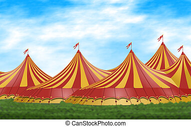 Circus Tent - Red and yellow circus tents placed on a green...