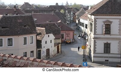 Old Town View from Roof - Video of an old Middle Ages paved...