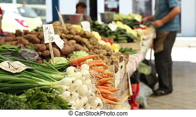 Organic Food at Market - Green onions, carrots, potatoes,...