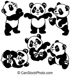 set with cartoon panda bear , black and white images for...