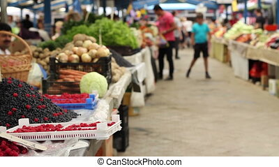 Organic Food Market - View of a traditional marketplace with...