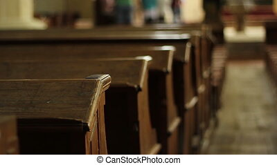 Old Wooden Benches - Old wooden benches pew, and people...
