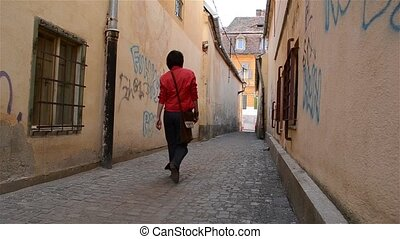 Paved Alley Between Houses - A stone paved alley, between...