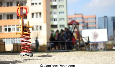 Playground Between Blocks - Kids gathered to the local...