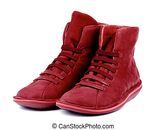 Shammy Boots - Pair of Fashionable Ruby Colored Shammy High...