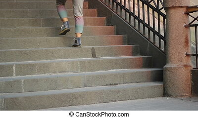 People and Dogs Descending Stairs - Various people and two...
