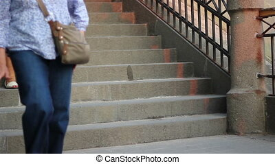 People Climbing Stone Stairs - People are buying fresh...