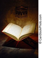 The Holy Quran openned on wood stand