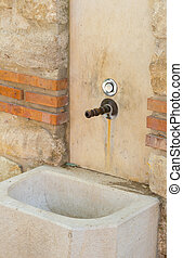 well water source stone, brick, wall