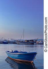 sea ??boat dock at summer