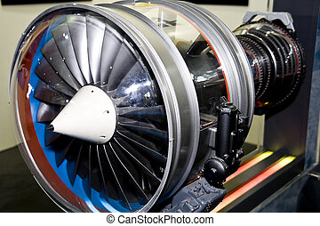 The engine of airplane - a aircraft jet engine detail in the...