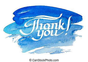 Thank you hand-drawn lettering against watercolor...
