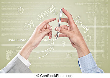 Working in cohesion - Close up of business people hands...