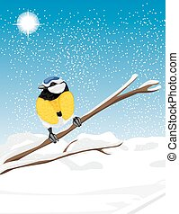 Blue tit sitting on a snowy branch tree. Vector illustration
