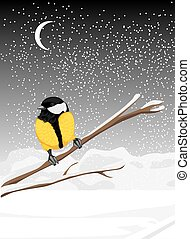Tit sitting on a snowy branch tree Vector illustration