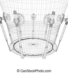 Djembe Drum Groove , body structure, wire model