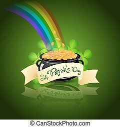 St Patricks Day Cauldron with Gold Coins, Rainbow and...