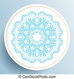Plate with blue floral ornament