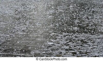 "Shower of Hail on Paved Street - ""An unexpected summer heavy..."