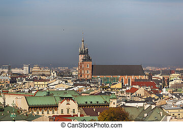 View of Krakow from a height of pile up - View from a height...