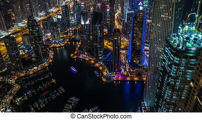Sheikh Zayed Road with Dubai Marina - time lapse...