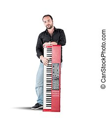 Musician and piano - A musician and his inseparable red...