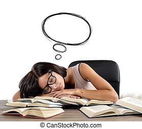 Sleeps and dreams - A woman sleeps and dreams over books