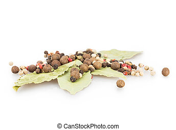 bay leaf, pepper Isolated on white background