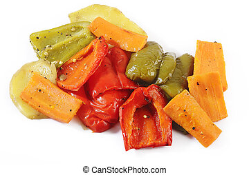 Grilled vegetables on white background