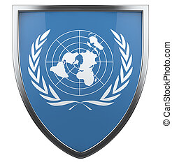 United Nations flag shield icon.
