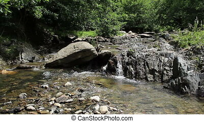 Stony Mountain Stream - A rocky mountain river flowing noisy...