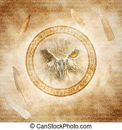 Owl Spirit - Owl face enclosed within a corroded ring of...