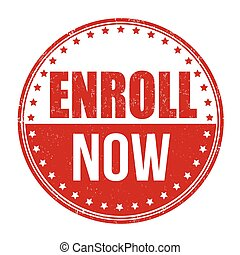 Enroll now stamp - Enroll now grunge rubber stamp on white...