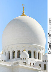 close-up of white mosque detail in Abu Dhabi