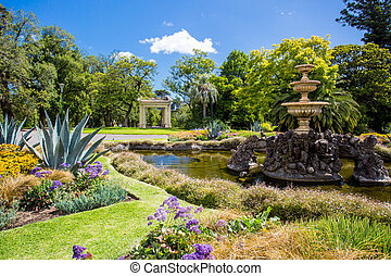 Fitzroy Gardens near Melbourne CBD on a hot summers day