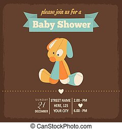 baby shower invitation in retro style, vector format