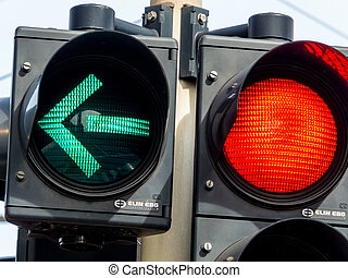 traffic light with red light and green light - a traffic...