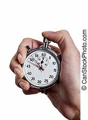 hand with stop watch - a hand holding a stopwatch