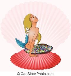 Mermaid sitting on seashell vector illustration - Mermaid...
