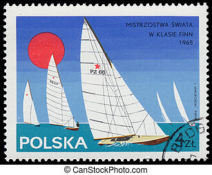Stamp printed in Poland sailboat - POLAND - CIRCA 1965:...